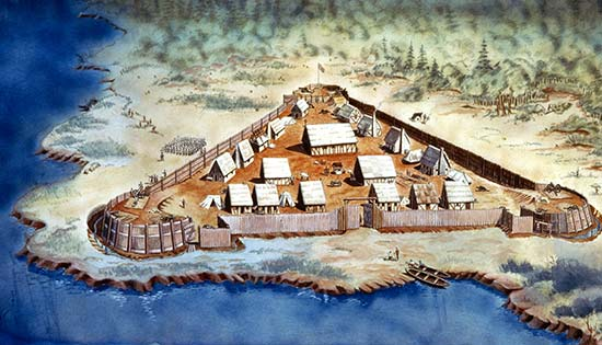 Artist Depiction of the Jamestown Settlement , early 1600's