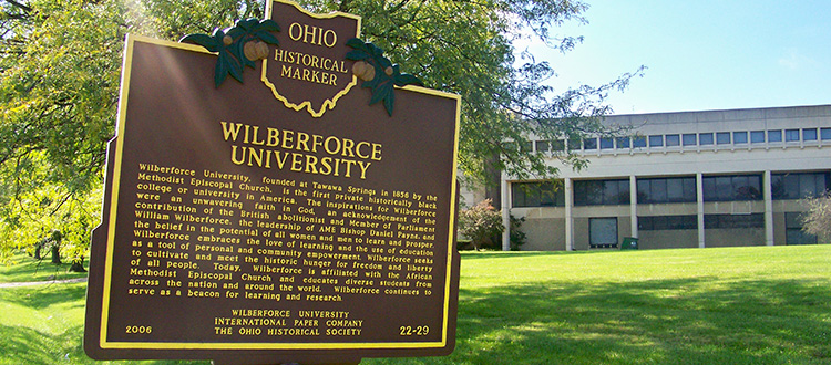 Plaqard denoting Wiberforce University as the 1st privately owned college for African American.