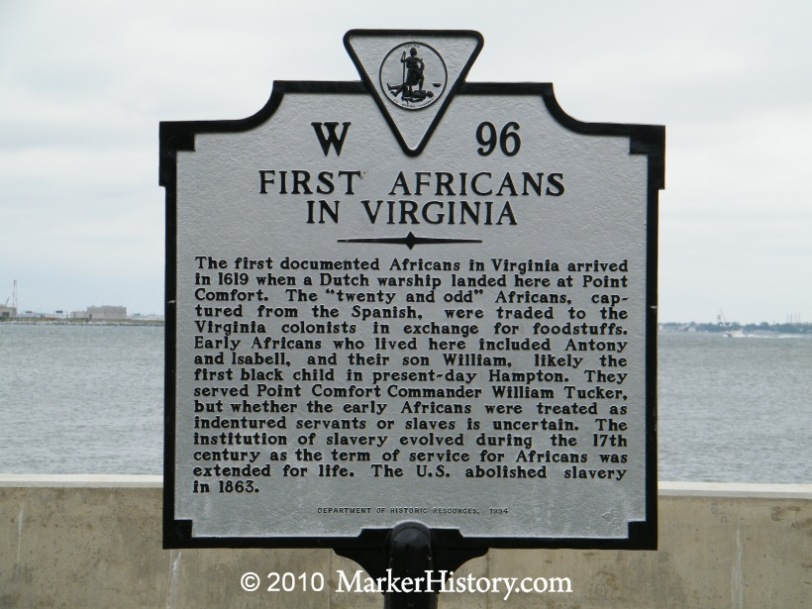 Plaque in Jamestown, Virginia.